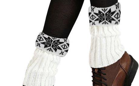 Pletené návleky na nohy se zimním vzorem