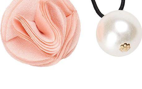 Gumička do vlasů s růžičkou a perlou