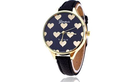 Dámské hodinky Geneva se zlatými srdíčky