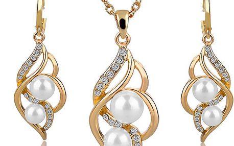 Unikátní sada šperků - řetízek s přívěskem a náušnice s perlami a kamínky