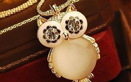Řetízek se sovičkou s perlovým bříškem