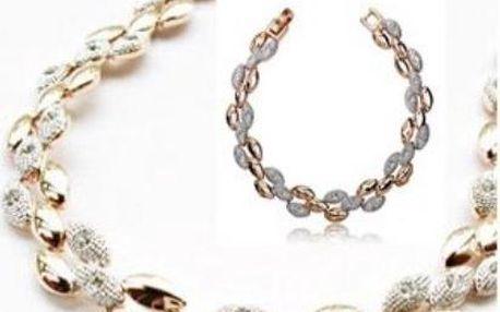 Luxusní stříbrno-zlatá sada náhrdelníku a náramku