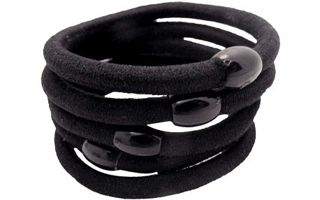 Balení 50 ks černých gumiček do vlasů