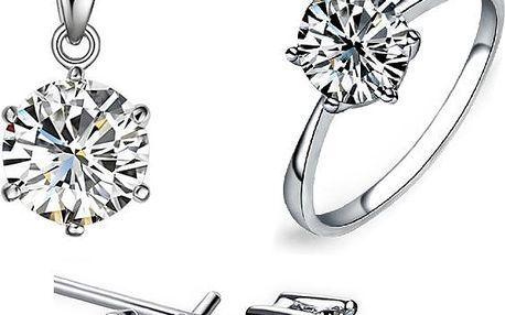 Luxusní sada šperků s kamínkem - prstýnek, náušnice a řetízek s přívěskem