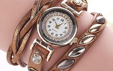 Dámské hodinky s kamínky a lesklým vícevrstvým náramkem