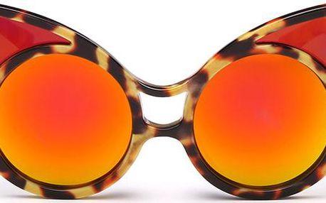 Vyzývavé kulaté dámské sluneční brýle s kočičími oušky