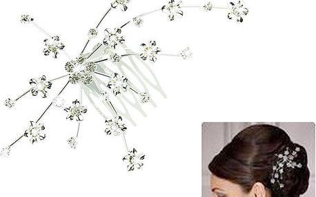 Krásný ozdobný hřebínek do vlasů s květinkami