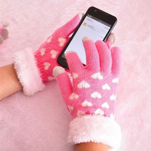 Dámské pletené dotykové rukavice s kožíškem a srdíčky