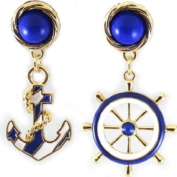 Originální náušnice v námořnickém stylu s kotvou a kormidlem
