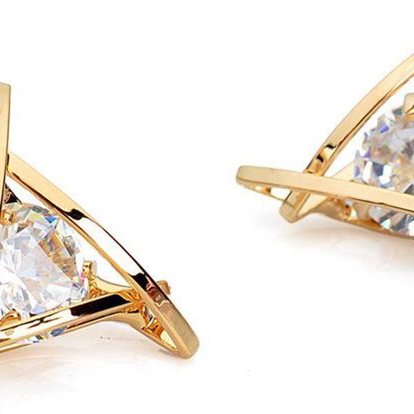 Decentní trojúhelníkové náušnice s křišťálovým kamínkem