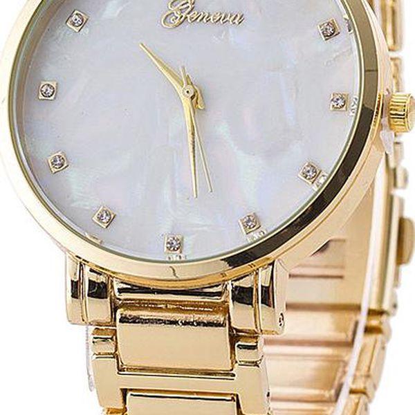 Dámské kovové hodinky s perleťovým ciferníkem