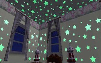 100 kusů plastových fluorescenčních hvězdiček - dodání do 2 dnů