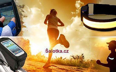 Potřeby pro sport včetně poštovného - sportovní opasek, LED náramek (2 ks) a pouzdro na kolo! Zvlášť či výhodné balení.