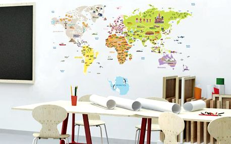 Ambiance Dekorační samolepky - velká mapa světa