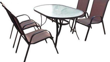 Lehký zahradní nábytek Sharks SA012 CH SET Nerang, stůl a 4 velmi pohodlné židle