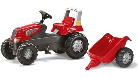 Rolly Toys Šlapací traktor Rolly Juniors vlečkou červený + Contrast Samolepky na zeď Roboti