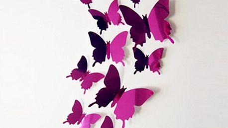 Sada 12 ks 3D motýlků na zeď - různé barvy - poštovné zdarma