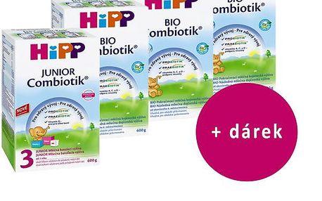 HiPP 3 BIO Combiotic - 4x600g + + dětské čistící vlhké ubrousky 56ks