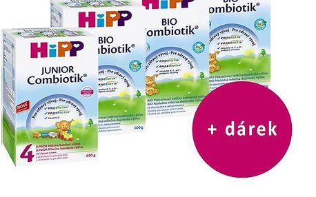 Hipp 4 Junior Combiotik 4x600g + dětské čistící vlhké ubrousky 56ks