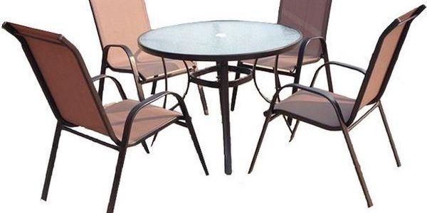 Již VYPRODÁNO! Lehký zahradní nábytek Sharks SA011 Jasin - Bronz, stůl a 4 velmi pohodlné židle