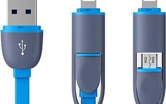 Barevný micro USB kabel 2v1 s plochým drátem