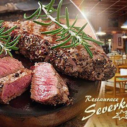 Menu pro 2 osoby v Pardubicích. 2x 200g steak dle výběru, dresing a pečivo v restauraci Severka.