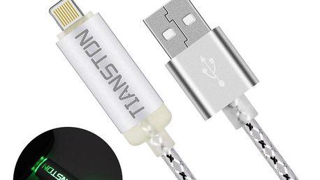 USB kabel s barevně svítící LED diodou - 1 m