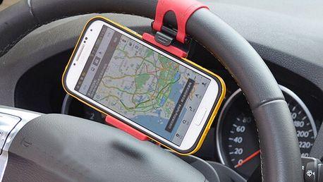 Držák na smartphone nebo GPS na volant auta - červená - dodání do 2 dnů