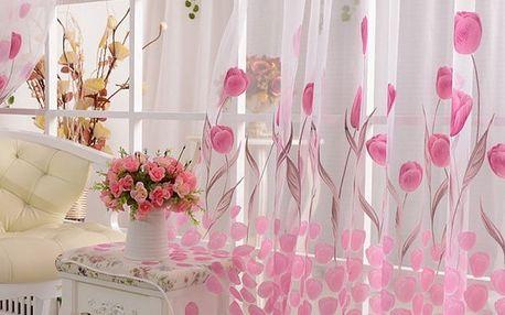 Růžová záclonka s motivy tulipánů - dodání do 2 dnů
