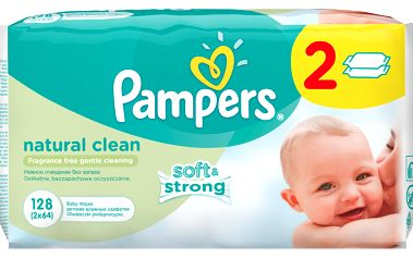 Pampers ubrousky Naturally Clean 2x64 ks