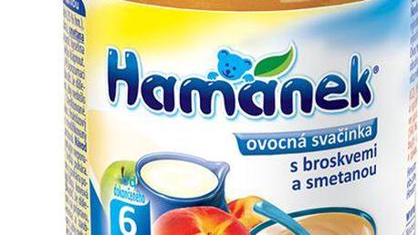 6x HAMÁNEK kojenecká výživa ovocná svačinka s broskví a smetanou, 190g