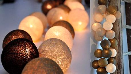 Světelný řetěz Cotton Balls, 20 kuliček