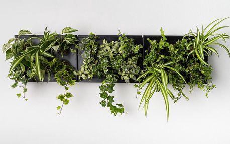 Vertikální květináč HOH! s neviditelným stojanem Trio Smart Nero, 83x38 cm - doprava zdarma!