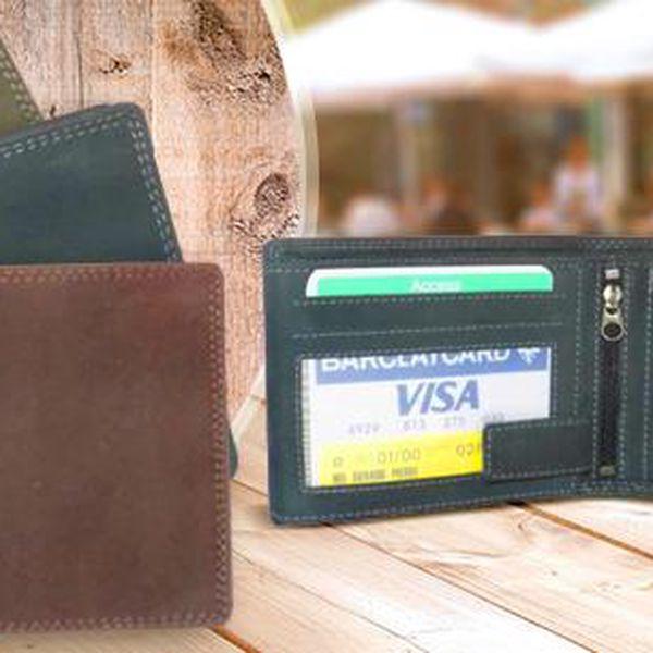 Elegantní pánská kožená peněženka! Výběr ze 3 barevných variant: hnědá, šedá, zelená