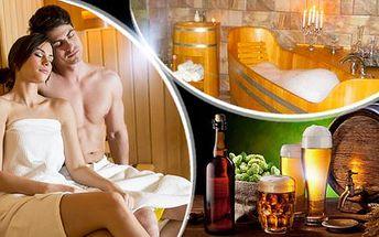 Pivní koupel pro 2 osoby s možností infrasauny a bahenního zábalu. Až 90 minut romantické relaxace v Havířově.