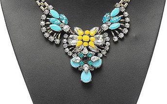 Výrazný náhrdelník s barevnými kameny - 4 barevná provedení