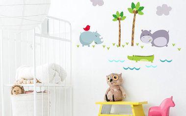 Mr. FOX Samolepka na zeď Hippo, 29,7x42 cm