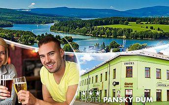 Šumava, Hotel Panský Dům*** na 3 dny pro sva. Polopenze, sauna a Lipno karta se slevami a olympijský park nedaleko.