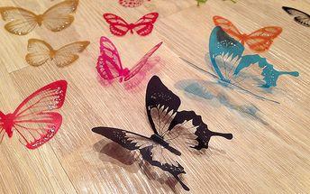 Nalepte.cz 3D dekorace motýlci barevní 18 ks šíře 5 a 6,5 cm