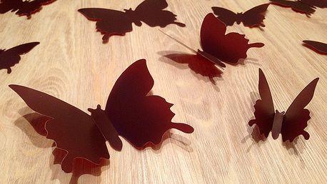 Nalepte.cz 3D motýlci na zeď hnědí 12 ks 6 až 12 cm