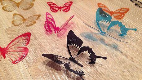 3D dekorace motýlci barevní 18 ks šíře 5 a 6,5 cm