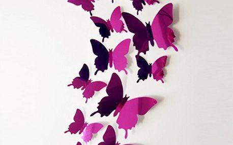 Sada 12 ks 3D motýlků na zeď - různé barvy