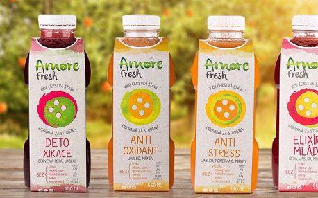3 čerstvé šťávy Amore Fresh v lahvích