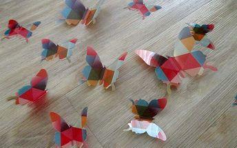 Nalepte.cz 3D motýlci modern art 12 ks šíře 7 až 12 cm
