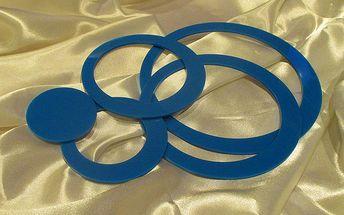 Nalepte.cz 3D dekorace na zeď kruhy modré 5 ks 5 až 15 cm