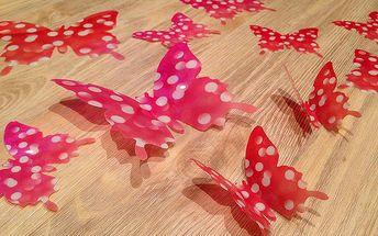 Nalepte.cz 3D motýlci růžoví červení s puntíky 12 ks šíře 7 až 12 cm