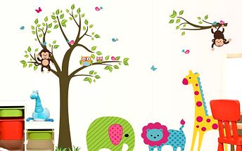 Nalepte.cz Strom slon a žirafa 130 x 95 cm