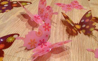 Nalepte.cz 3D motýlci růžoví hnědí s kytičkama 12 ks šíře 7 až 12 cm