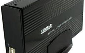 4World hliníkový box pro HDD 3,5'' SATA, černá - 05465