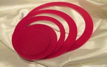 Nalepte.cz 3D dekorace na zeď kruhy růžové 5 ks 5 až 15 cm